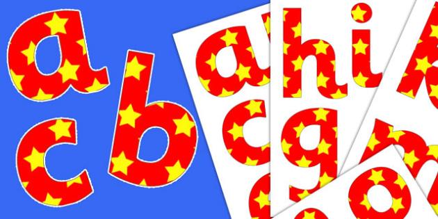 Red Yellow Stars Paper Saving Alphabet Numbers Symbols Lowercase