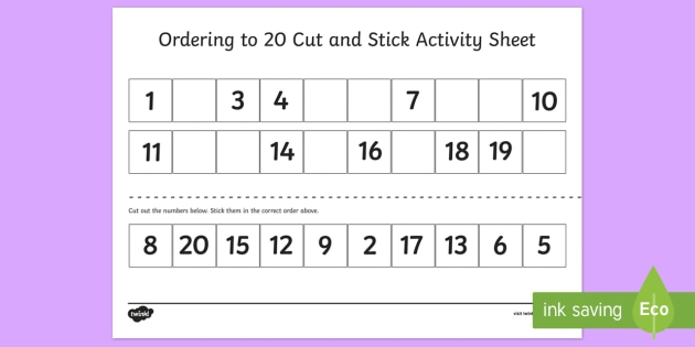 Ordering to 20 Cut and Stick Activity Sheet - ordering, 20, cut, stick, activity, sheet, worksheet