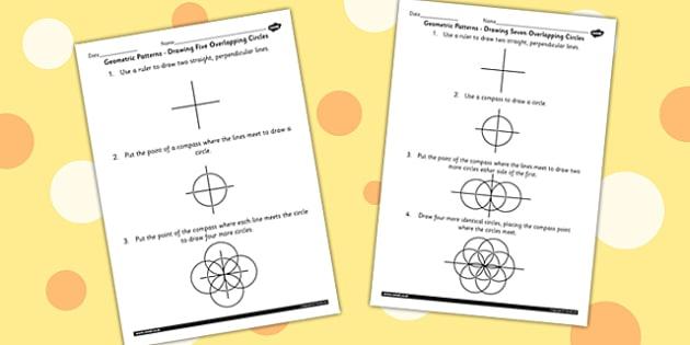 Drawing 5 and 7  Circle Patterns Numeracy Sheets - shapes, maths