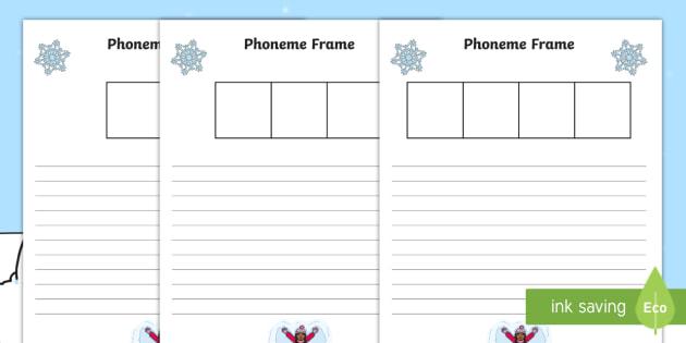 Winter Themed Phoneme Frame Activity Sheets - winter, phoneme frame, activity sheet, activity, sheet, sheets, phoneme, frame