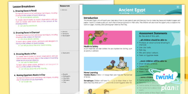 PlanIt - Art UKS2 - Ancient Egypt Planning Overview - planit