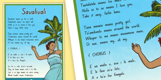 Samoan Language Song Display Posters - nz, new zealand, samoa, Samoan language week, celebration, display, song, savalivali