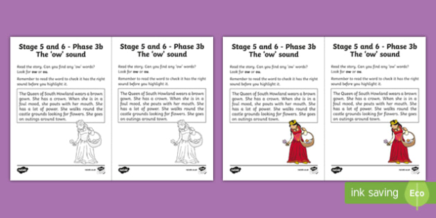 Linguistic Phonics Stage 5 and 6 Phase 3b, 'ow' Sound Activity Sheet