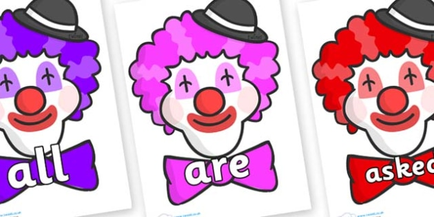 Tricky Words on Clown Faces - Tricky words, DfES Letters and Sounds, Letters and sounds, display, words