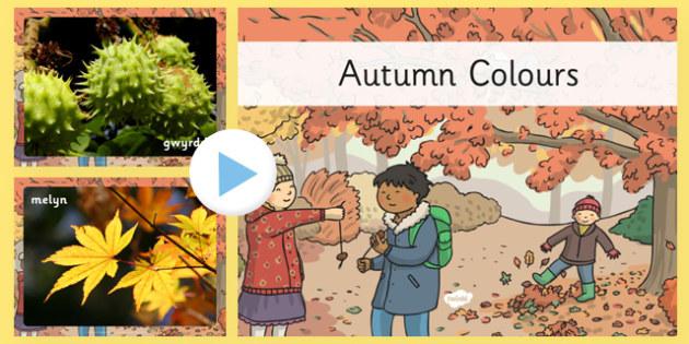 Pwerbwynt Lliwiau'r Hydref - cymraeg, autumn, colours, photo, powerpoint