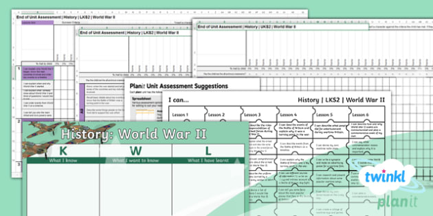 PlanIt - History LKS2 - World War II Unit Assessment Pack - assessment, summative, final, targets, world car 2, second world war, jigsaw targets, KWL grid.