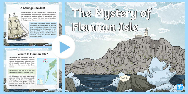 The Mystery of Flannan Isle PowerPoint - CfE Literacy, creative writing, creating texts, reporting, mystery, mysterious, Scottish, ,Scottish