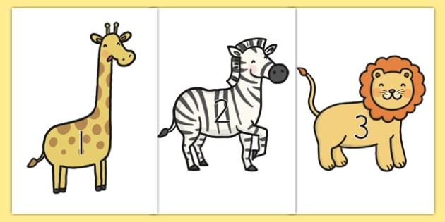 0 30 On Safari Animals - counting, animals, safari, jungle, 0-30