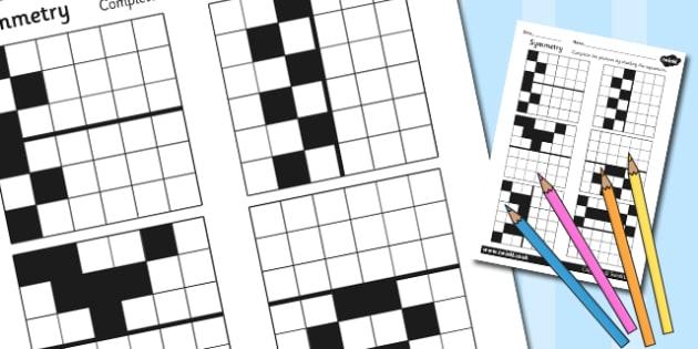 Symmetry Worksheet - symmetrical, numeracy, math, maths worksheet