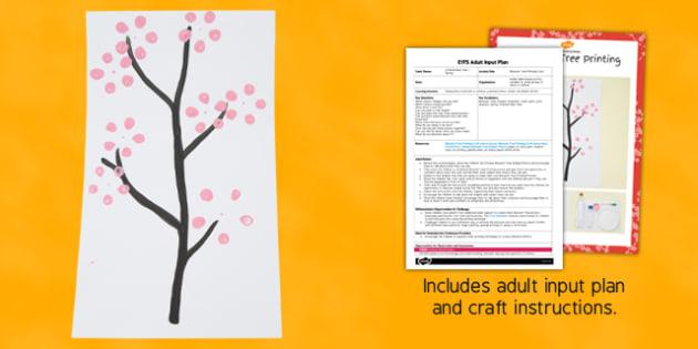Blossom Tree Printing Craft EYFS Adult Input Plan and Resource Pack - blossom tree, printing, craft, eyfs, adult input, pack