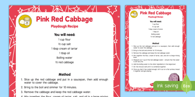 Natural Dye 'Pink' Red Cabbage Playdough Recipe