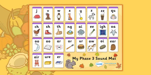 Autumn Themed Phase 3 Sound Mat - autumn, phase 3, phase three, sound mat, phase 3 sound mat, autumn themed sound mat, themed sound mat, phase 3 sounds
