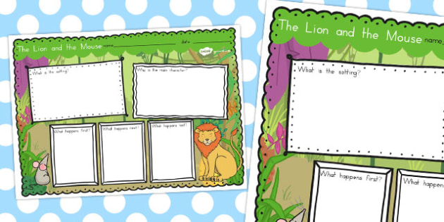 The Lion and the Mouse Story Review Writing Frame - australia