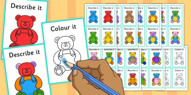Describe It Colour It Teddy Game - describe it, colour, teddy