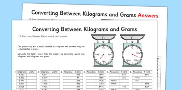 Converting Between Grams and Kilograms Activity Sheet - converting, grams, kilograms, activity, worksheet