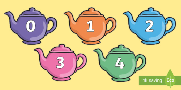 Numbers 0-100 on Teapots - 0-100, foundation stage numeracy, Number recognition, Number flashcards, counting, number frieze, Display numbers, number posters