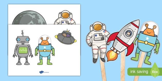Space Themed Stick Puppets
