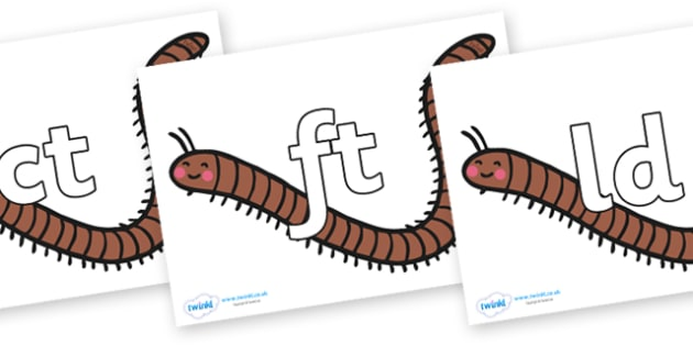 Final Letter Blends on Millipedes - Final Letters, final letter, letter blend, letter blends, consonant, consonants, digraph, trigraph, literacy, alphabet, letters, foundation stage literacy