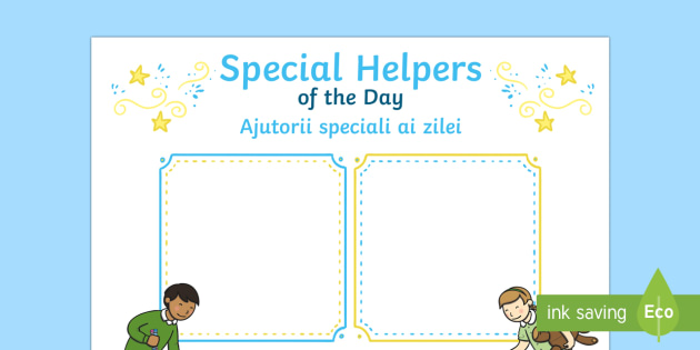 Special Helpers of the Day Poster Romanian Translation-Romanian-translation - Special Helpers of the Day Poster English/Romanian