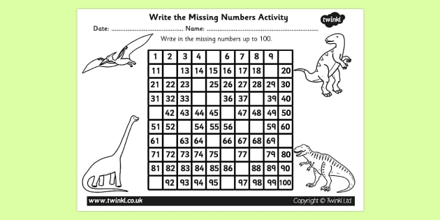 Dinosaur Themed Missing Numbers Number Square 1-100 - dinosaur