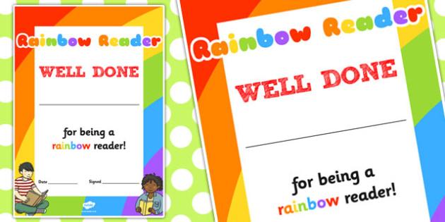Rainbow Reader Book Decorative Certificate - certificate, rainbow