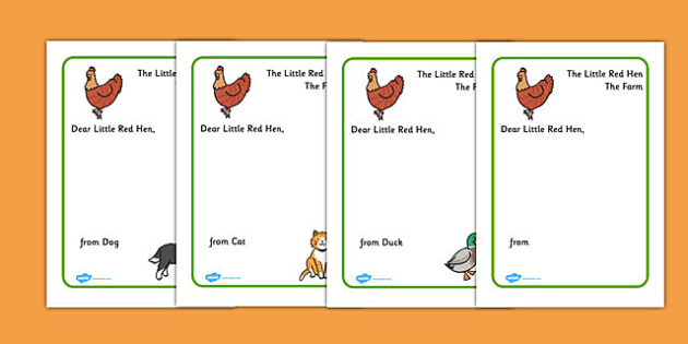 Little Red Hen Letter to Hen Writing Template - Little Red Hen, letter, writing activity, independent writing, Traditional tales, tale, fairy tale, little red hen, cat, dog, horse, grain, wheat, flour, bread, no I, I will