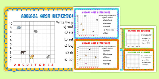 Animal Grid References Maths Challenge Cards - animals, coordinates