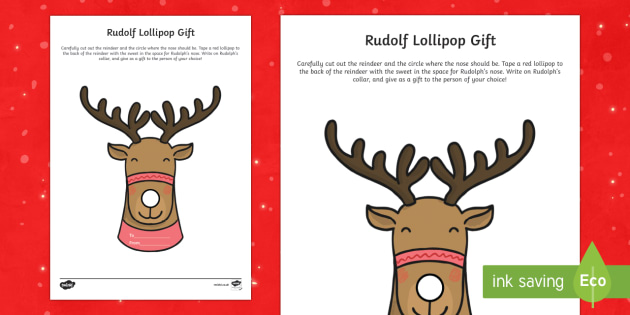 Rudolph Lollipop Gift Craft