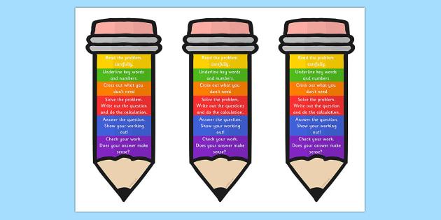 Problem Solving Pencil Bookmark or Visual Aid - problem solving