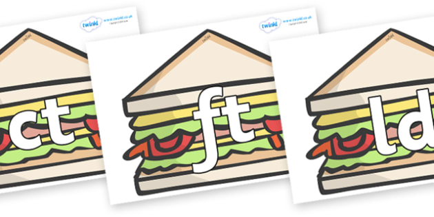 Final Letter Blends on Sandwiches to Support Teaching on The Lighthouse Keeper's Lunch - Final Letters, final letter, letter blend, letter blends, consonant, consonants, digraph, trigraph, literacy, alphabet, letters, foundation stage literacy