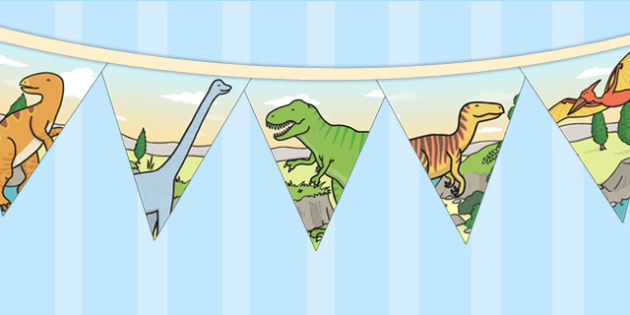 Dinosaur Themed Birthday Party Pictue Bunting - birthday, bunting