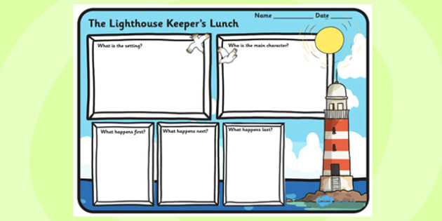 Book Review Writing Frame to Support Teaching on The Lighthouse Keeper's Lunch - the lighthouse keepers lunch, book review, writing frame, book review writing frame, writing aid