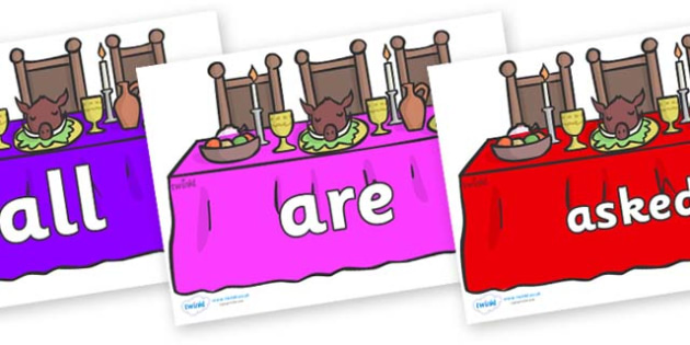 Tricky Words on Dining Tables (Multicolour) - Tricky words, DfES Letters and Sounds, Letters and sounds, display, words