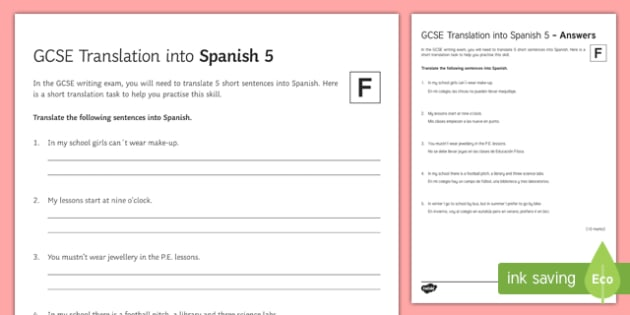 GCSE Translation into Spanish Foundation Tier 5 Activity Sheet