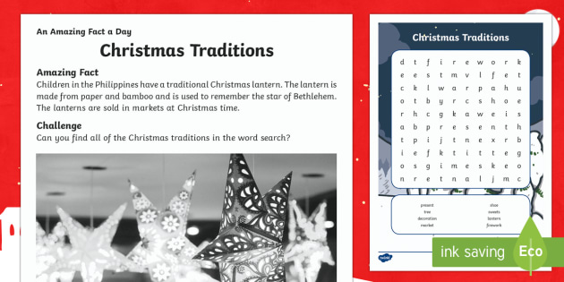 Christmas Traditions Activity Sheet - Amazing Fact Of The Day, activity sheets, PowerPoint, starter, morning activity, December, Christmas