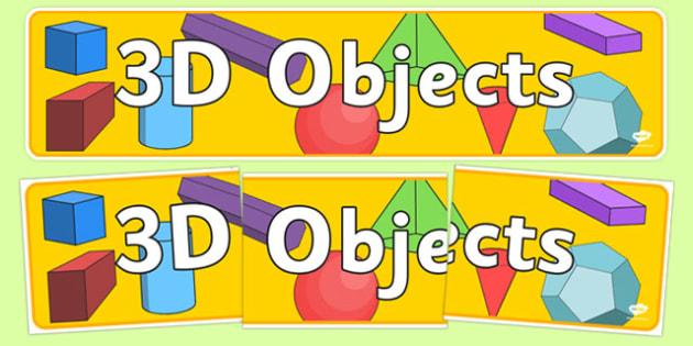 3D Object Display Banner Australia - 3D, 3, dimension, properties, shape, shapes, faces, edges, cube, cuboid, sphere, sylinder, compare, maths