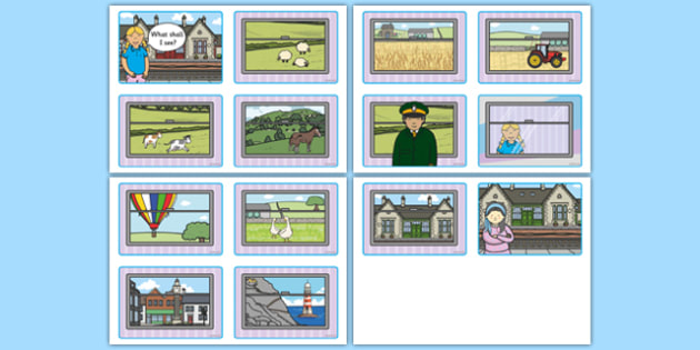 The Train Ride Story Sequencing (4 per A4) - The Train Ride, June Crebbin, journey, transport, resources, rhyme, rhythm, tractor, story, story book, story book resources, story sequencing, story resources, sequencing