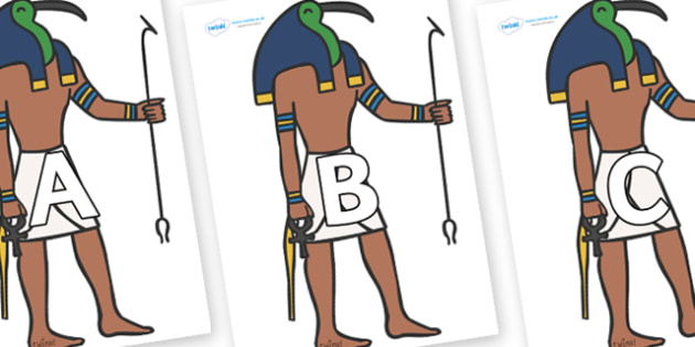 A-Z Alphabet on Egyptian Priests - A-Z, A4, display, Alphabet frieze, Display letters, Letter posters, A-Z letters, Alphabet flashcards