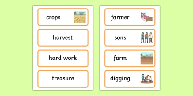 The Farmer and His Sons Word Cards - story books, visual aid