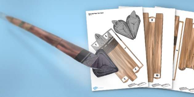 Paper Craft Stone Age Tool Spear - paper craft, craft, stone age