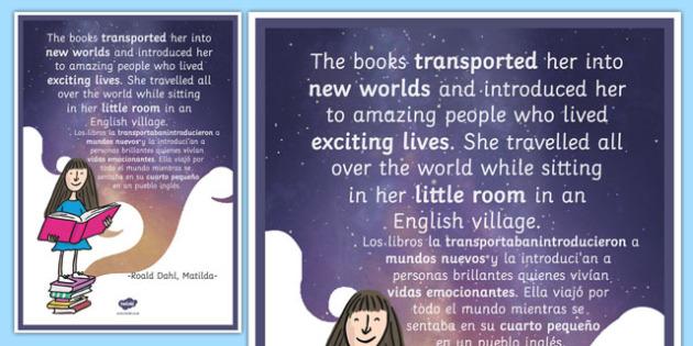 The Books Transported Her Matilda Motivational Poster Spanish Translation--translation