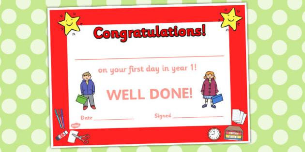 First Day Award Certificates Year 1 - award certificates, awards, certificates, first day, year 1, year one, first day awards, first day certificates
