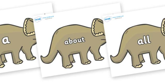 100 High Frequency Words on Triceratops - High frequency words, hfw, DfES Letters and Sounds, Letters and Sounds, display words