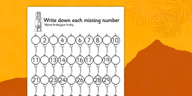 Chinese New Year Missing Number Activity Sheet Polish Translation - polish, chinese new year, missing number, activity, sheet, worksheet