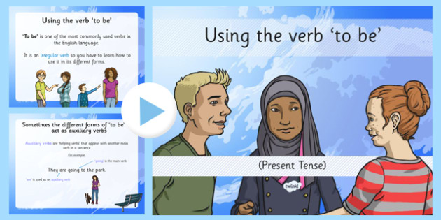 Using the Verb 'to be' Present Tense Lesson Presentation - to be, present tense, past tense, am  is, are, was, were, verb inflections, verb, grammar, year 3, year 4