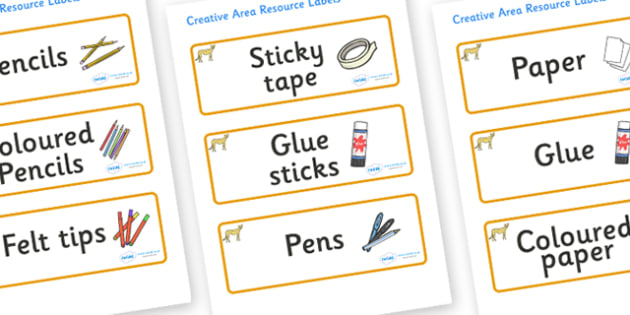Cheetah Themed Editable Creative Area Resource Labels - Themed creative resource labels, Label template, Resource Label, Name Labels, Editable Labels, Drawer Labels, KS1 Labels, Foundation Labels, Foundation Stage Labels