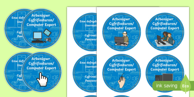 Computer Expert Year 1 and 2 Bilingual Resource Role Play Badges-Welsh