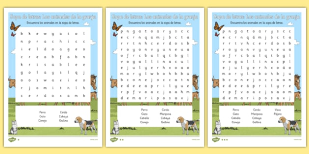 Sopa de letras - animales de la granja - animales, vaca, cerdo, oveja, pato, caballo, cabra, burro, oca, gallina, cabra, juego, vocabulario
