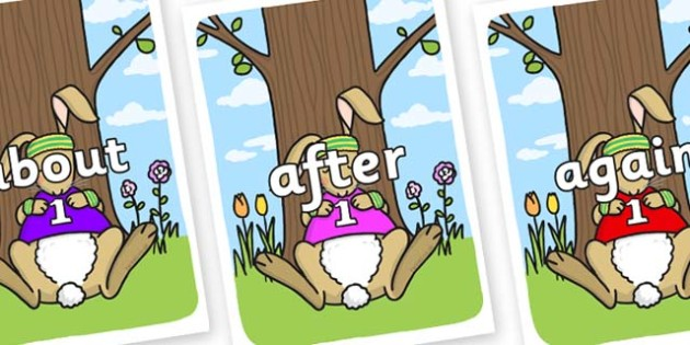 KS1 Keywords on Sleeping Hare - KS1, CLL, Communication language and literacy, Display, Key words, high frequency words, foundation stage literacy, DfES Letters and Sounds, Letters and Sounds, spelling