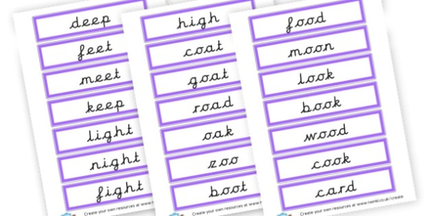 Phase 3 example word flashcards - Phase 3 Visual Aids Primary Resources, Phase One, Letters, sounds